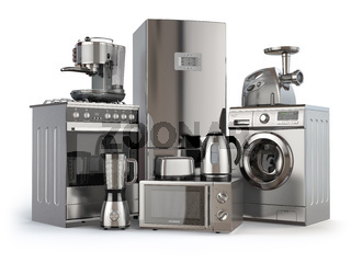 Home appliances. Gas cooker, refrigerator,  microwave and  washing machine, blender  toaster  coffee machine, meat ginder and kettle.