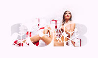2018 Happy New Year background. Beautiful woman with gift boxes.