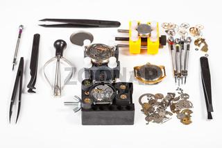 watch repairing tools on white