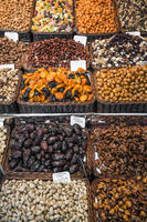 dried fruits and nuts stall la boqueria market barcelona spain