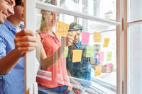 Team notiert kreative Ideen auf Zetteln