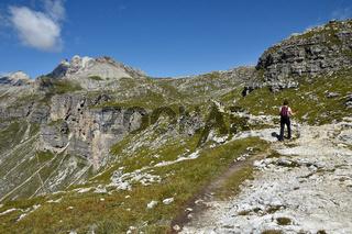 Puez-Gruppe; Weg zur Puez-Huette; Dolomiten; Suedtirol;