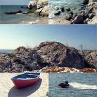 Collage of sea photos with sand, tide, rocky coast and jet boat