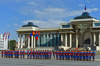 Mongolian Armed Forces Honorary Guard in traditional uniform in front of the Parliament House