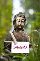 Buddha statue with the word Dharma
