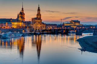 Sonnenuntergang über der historischen Dresdner Innenstadt