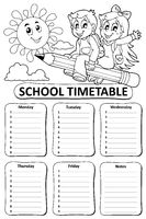 Black and white school timetable theme 7 - picture illustration.
