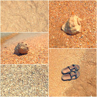 Holiday mosaic of shot of sand, transparent water,shells, flip-flops. summertime. Toned images collage.