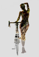 Silhouette of a naked woman with bicycle combined with a mountain road. Double exposure, isolated on a white background