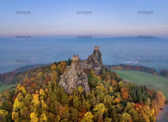 Trosky Castle in Bohemia paradise - Czech republic - aerial view