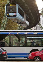 suspension monorail, bus and cars, Wuppertal, Bergisches Land, Germany, Europe