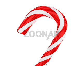 Traditional christmas candy cane closeup isolated