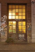 Door with Graffiti  at Dusk