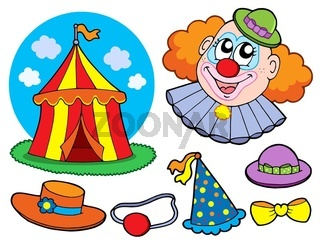Circus clown collection - isolated illustration.