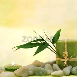 Wellness with herbal soap and leaves