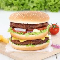 Doubleburger Double Burger Hamburger frisch Zwiebel Fleisch Käse Tomaten Salat