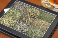 loose leaf green tea background on tablet