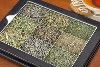 loose leaf green tea background on tablet