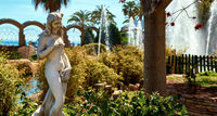 Sculpture in the Marina d'Or garden. Oropesa del Mar resort town. Spain