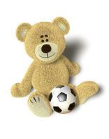 Nhi Bear on the floor with a ball