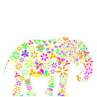 Concept of flowers in the shape of a elephant