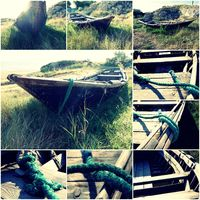 Old wooden boat on the groundin green grass collage of toned images