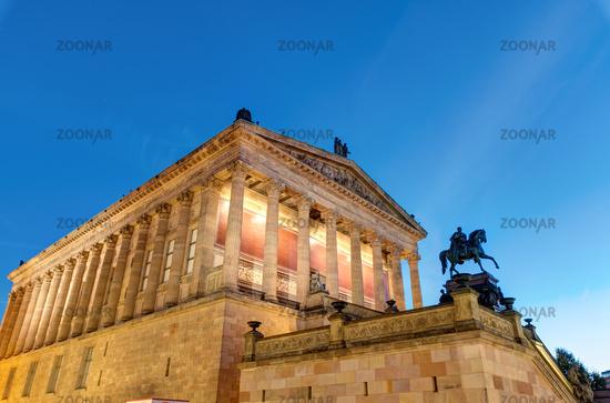 The Alte Nationalgalerie in Berlin at night