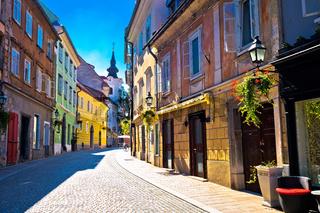 Old town of Ljubljana colorful street