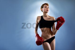 Sexy female boxer posing