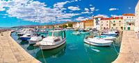 Kastel Novi turquoise harbor and historic architecture panoramic view