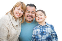 Happy Mixed Race Hispanic and Caucasian Family Isolated on a White Background.