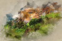 Principality of Monaco. Digital watercolor painting.