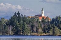 Monastery Reutberg with lake Kirchsee