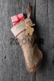 Old fashioned burlap Christmas Stocking