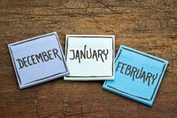 December, January and February on sticky notes