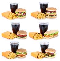 Hamburger Sammlung Collage Cheeseburger Menu Menü Menue mit Pommes Frites Cola Getränk Fast Food Freisteller freigestellt