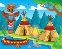 Native American campsite theme image 1