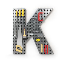 Letter K. Alphabet from the tools on the metal pegboard isolated on white.