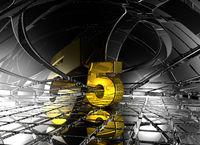 nummer fünf in futuristischer umgebung - 3d illustration