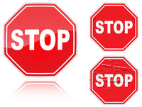 Set of variants a Stop road sign
