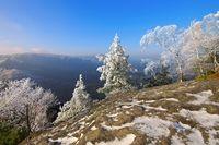 Elbsandsteingebirge im Winter Blick vom Teichstein - Elbe sandstone mountains in winter and hoarfrost, view from mountain Teichstein