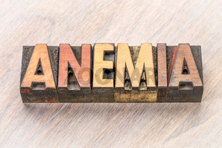 anemia word abstract in wood type