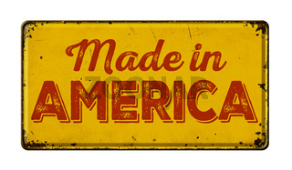 Vintage rusty metal sign on a white background - Made in America