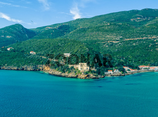 Aerial View Ocean Coastal Landscape of Nature Park Arrabida