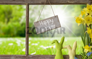 Window, Green Meadow, Happy Easter