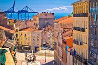 City of Rijeka Korzo square and harbour cranes aerial view