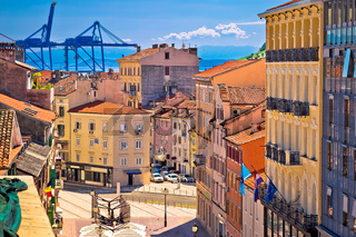 City of Rijeka Korzo square and harbour cranes aerial view
