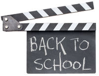 back to school text on clapboard