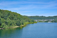 View to Village of Sondern at Biggesee Reservoir in Sauerland,Germany