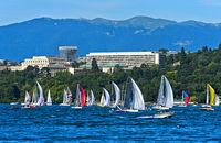View from Lake Geneva towards the Ariana Park with the UN Headquarters, Geneva, Switzerland